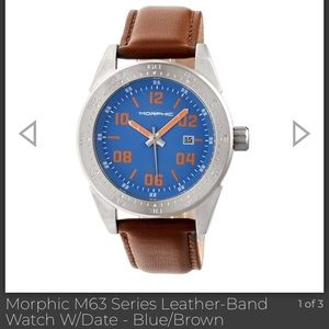 Morphic M63 Series Watch- Brown Leather Blue Face